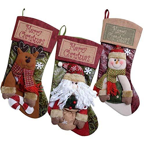 (GZDDG Burlap Banners Merry Christmas Stockings 3 PCS 18