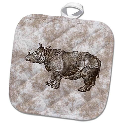 3dRose Russ Billington Designs - Vintage Rhino Engraving on Patterned Background - 8x8 Potholder (PHL_291591_1) by 3dRose