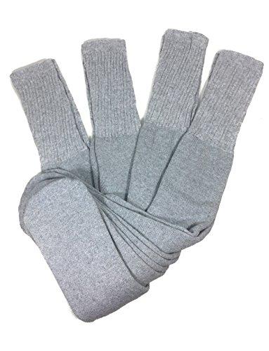 Mens Big and Tall Sports Tube Socks Long Over the Calf - 24 inch (4 Pairs) (Grey) (Mens Gray Tube Socks)