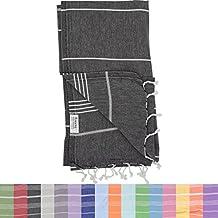 Essential Turkish Towel Peshtemal in 100% Cotton for Beach Bath Swimming Pool Yoga Pilates Picnic Blanket Scarf Wrap Hammam Fouta Turkish Bath Towels Beach Towel (Black)