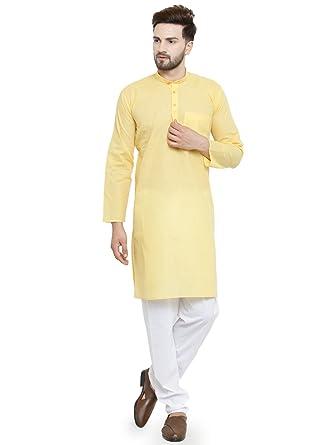 997aa9af78e Luxurazi Men s Cotton pathan Suit Kurta Pyjama (14 Yellow 40-Regular)