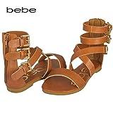 bebe Girls Vegan Gladiator Sandal With Triple Buckles And Back Zipper 13/1 Cognac