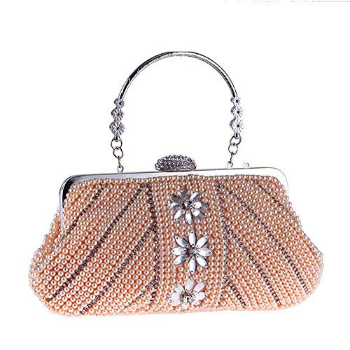 JUNJIAGAO-Bags New Women Small Clutch Bag Elegant Ladies Evening Bag Pearl Beaded Handbag Prom Bag Purse for Cocktail Party Bridal Wedding Bag Fashion (Color : Champagne) ()