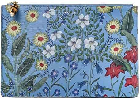 953d450dfc8 Gucci Nymphae Flora Azure Floral Blue Pouch Zipper Zip Leather Box Italy  Flower New