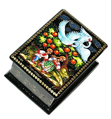 GreatRussianGifts Swan-Geese Russian Fairy Folk Tale Inspired Miniature Art Palekh Keepsake Lacquer Box