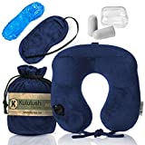 Ultra Comfortable Inflatable Travel Pillow - Portable, Lightweight, Super Compact Neck Support for Airplane, Car, and Train + FREE Travel Accessories Pack - Eye Mask and Ear Plugs (Dark Blue)