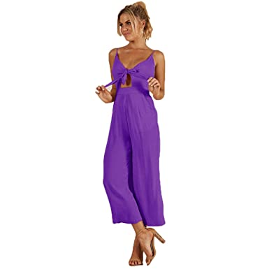 23622654222 Longwu Ladies  Sexy Deep V Neck Jumpsuit Spagetti Strap Lace Up Romper  Bandage Jumpsuit for