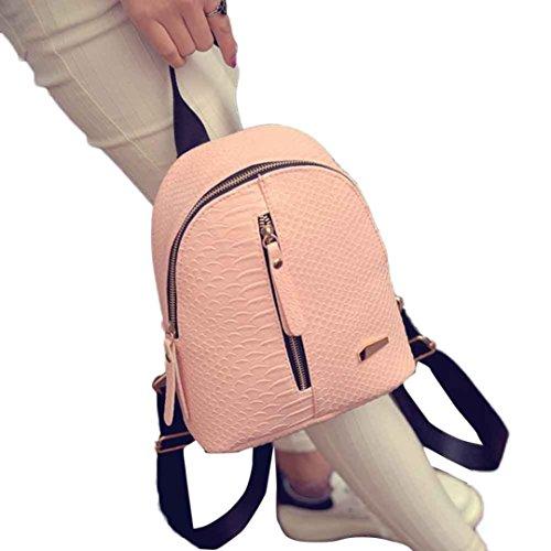 Creazy Women Leather Backpacks Schoolbags Travel Shoulder Bag (Pink)