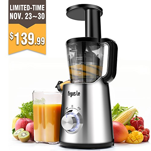 Argus Le Slow Masticating Juicer, High Juice Yield with Drier Pulp, Easy Cleaning and Operating Cold Press Juicer, Fruit and Vegetable Juice Extractor by Argus Le