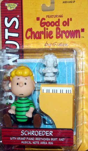 "SCHROEDER (GREEN SHIRT & NO SMILE FACIAL EXPRESSION) with Grand Piano, Beethoven Bust & Musical Note Area Rug PEANUTS Action Figure from ""Good ol"
