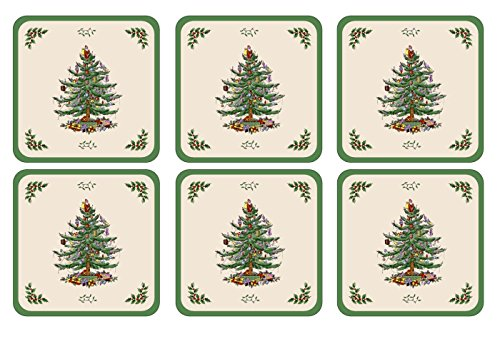 Holiday Coaster Set Tree - Spode Christmas Tree Hardback Coasters, Set of 6