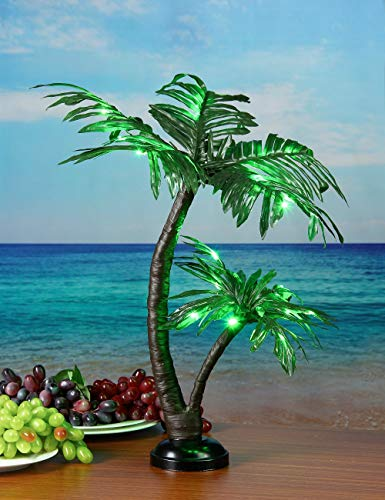 LIGHTSHARE 24Inch 25LED Twins Palm Tree Bonsai,Green Light,Battery Powered or Plug-in Adapter (Included), Built-in Timer (Optic Palm Tree Fiber)