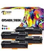Toner Bank 4 Pack Compatible for HP Color Laserjet Pro MFP M281fdw M254dw HP 203X 203A CF540A CF540X CF541X CF542X CF543X Toner for HP MFP M281fdn M280nw M281cdw HP M254dn M254nw Toner Cartridges