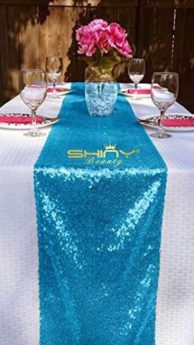 Turquoise Overlay (ShinyBeauty 12x72-Inch Rectangle-Turquoise-Sequin Table Runner- For Wedding/Party/Decor (12x72-Inch) (Turquoise))