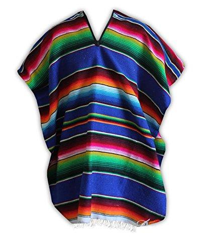 Del Mex (TM) Mexican Serape Poncho Pancho Adult