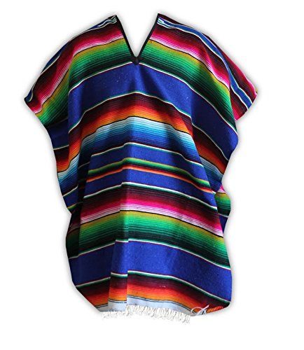 Del Mex (TM) Mexican Serape Poncho Pancho Adult Costume (Blue) ()