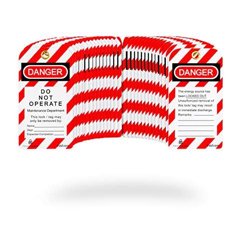 TRADESAFE Lockout Tagout Tags - 30 Pack - Premium 15 mil Nylon Plastic w/Zip Ties | Danger Do Not Operate Loto Tag Compliance