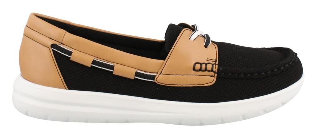 CLARKS Women's Jocolin Vista Boat Shoe, Black Perforated Textile, 9 B(M) US