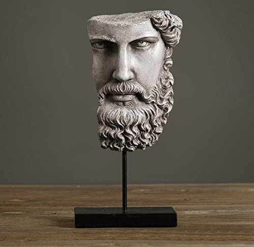 Earth Sculpture - Home-organizer Tech Art Half Face the Wise Beard Gift and Furnishing Article Statue Abstract Sculpture (Earth tones)