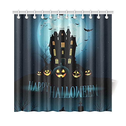 WUTMVING Home Decor Bath Curtain Halloween Haunted House Polyester Fabric Waterproof Shower Curtain for Bathroom, 72 X 72 Inch Shower Curtains Hooks -