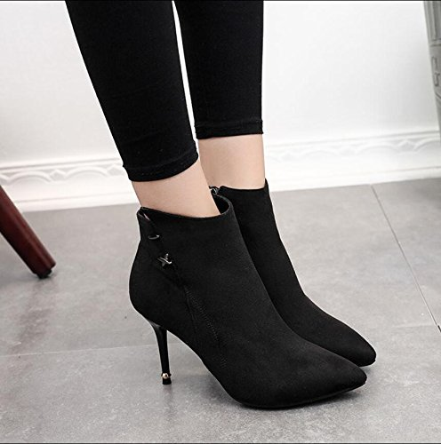 KHSKX-Black 9Cm Tip Satin Fine With High-Heeled Boots Side Zipper Ladies Boot Comfortable And Versatile Martin Boots 37 yuFNfSWGC