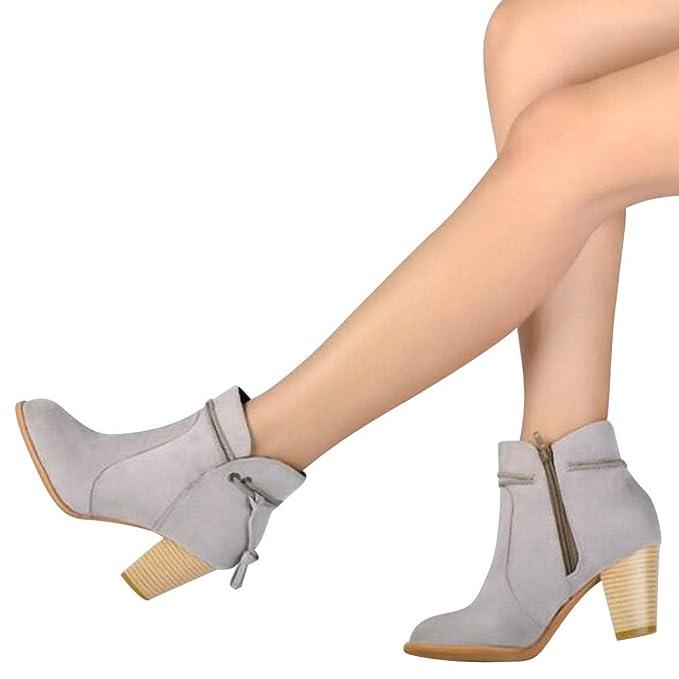 JiaMeng Zapatillas Moda Botines Botas Militares Altas Mujer Botas Tobilleras con Cordones y Botines Altos con