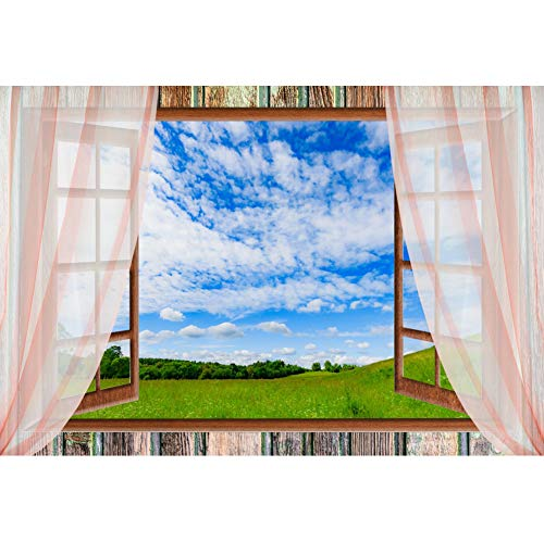CSFOTO 7x5ft Backdrop Prairie Photography Background Natural Scenery Window Curtain Blue Sky Whte Clouds Green Grass Kids Traveler Portrait Photo Booth Studio Video Props Living Room Wallpaper ()