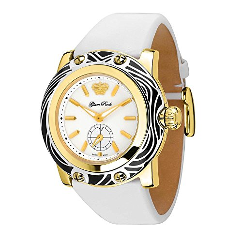 Glam Rock Women's Miami 46mm White Leather Band Gold Plated Case Swiss Quartz Analog Watch GR10507