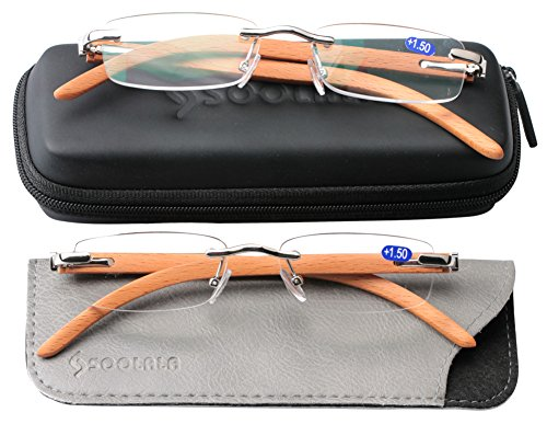 SOOLALA New Wood Bamboo Rimless Frame Magnifying Reading Glasses w/Metal Rivets, 2Silver, 1.5D