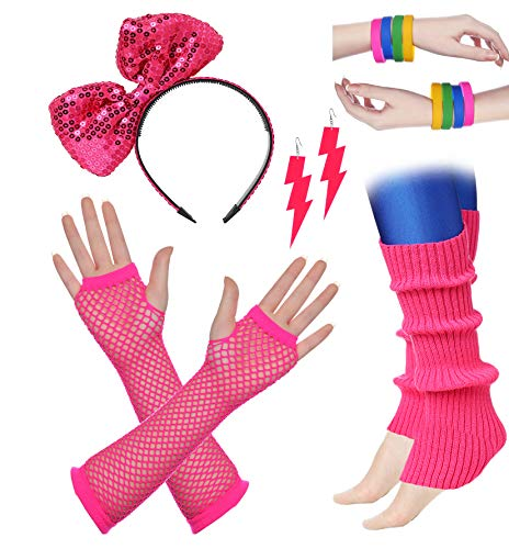 BABEYOND 80s Outfit Costume Accessories Neon Earrings Fishnet Gloves Leg Warmers Headband Bracelets (Set -