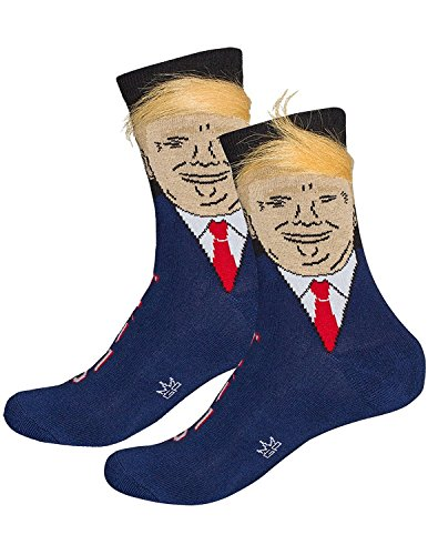 Gumball Poodle Donald Trump With Fake Hair Comb Over Adult Crew Length Socks