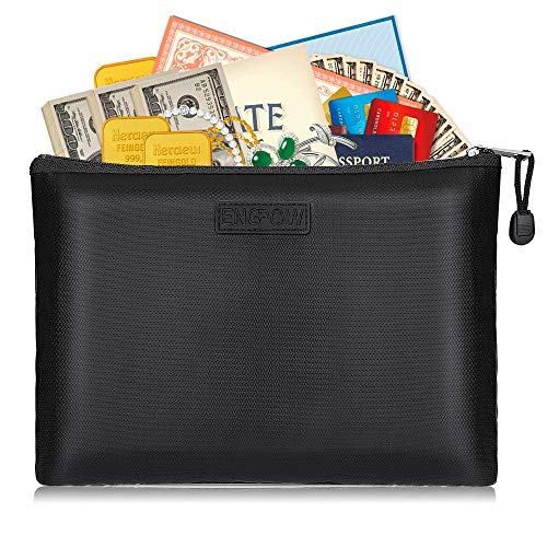 Fireproof Document Bags Safe File Bank Cash Deposit Pouch with Zipper Non-Itchy Silicone Coated Fire&Water Resistant Money Purse 13.5