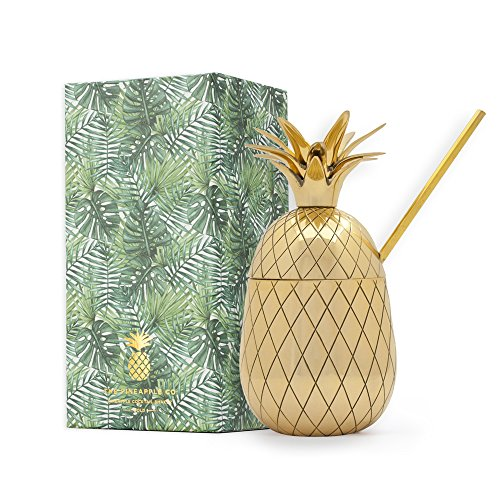 W&P MAS-PINEB  Large Brass Pineapple Tumbler with Straw, Craft Cocktail Glass, Mid Century Modern Designer Bar Accessories, Gold, 16 oz (Brass Bar Accessories)