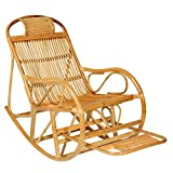 Home Rattan Rocking Chair, Retractable Pedals to Relax The Elderly Seat Recliner 624-YY (Color : Yellow, Size : Simple)