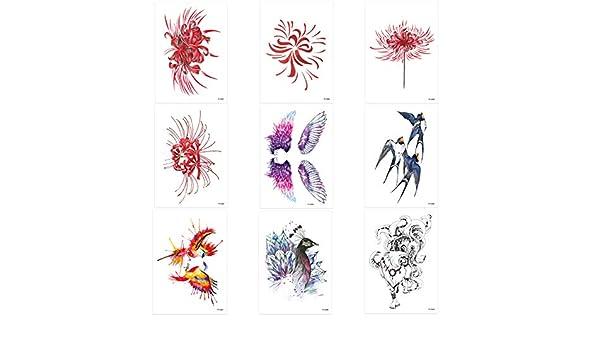Datura Floral - Juego de 9 pegatinas para tatuajes falsos ...