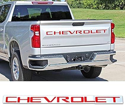 Red Tailgate Insert Letters ABS Plastic Insertsfits for 2019-2020 Chevrolet Silverado Matte Black Sliver Red