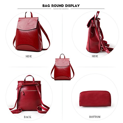 Women Backpack Vintage Shoulder Burgundy BookBag for Bag Yoome Campus Leather a Soft wpaqBBz