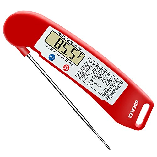 GDEALER Instant Read Thermometer Super Fast Digital Electronic Food Thermometer Cooking Thermometer Barbecue Meat Thermometer with Collapsible Internal Probe for Grill Cooking Meat Kitchen Candy (Chicken Oven Grilled)