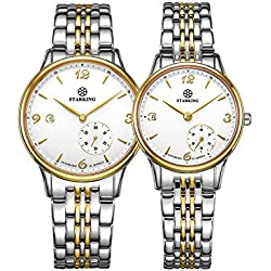 STARKING Couple Stainless Steel Gold Tone Pair Watches for Men Women(2 Pieces) AM0215_AL2015