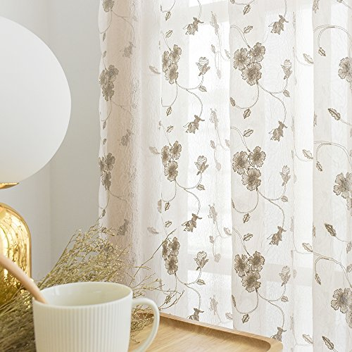 Floral Embroidery Sheer Window Curtains for Living Room Curtain Set Crinkled Rod Pocket Voile Window Panels for Bedroom 84 inches Long (1 Pair, Beige)
