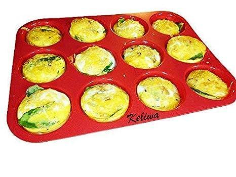 keliwa 12 Copa Muffin de silicona y Cupcake molde para hornear/Non - Stick/lavavajillas - se puede usar en microondas/21 libre recetas: Amazon.es: Hogar