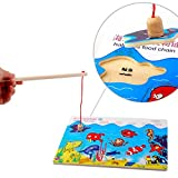 BrawljRORty Toys, Wooden Board Ocean Shark Starfish Jigsaw Puzzle Magnetic Fishing Game Kids Toy