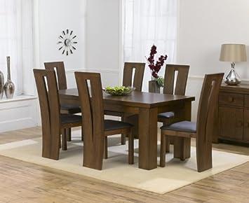 Dorset Oscuro sólido Roble Medio Mesa de Comedor y 6 sillas ...