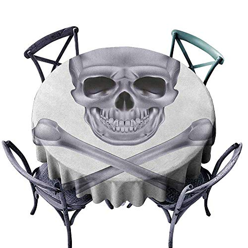 Mannwarehouse Grey Fabric Dust-Proof Table Cover Vivid Skull and Crossed Bones Dangerous Scary Dead Skeleton Evil Face Halloween Theme Easy Care D51 Dimgray]()
