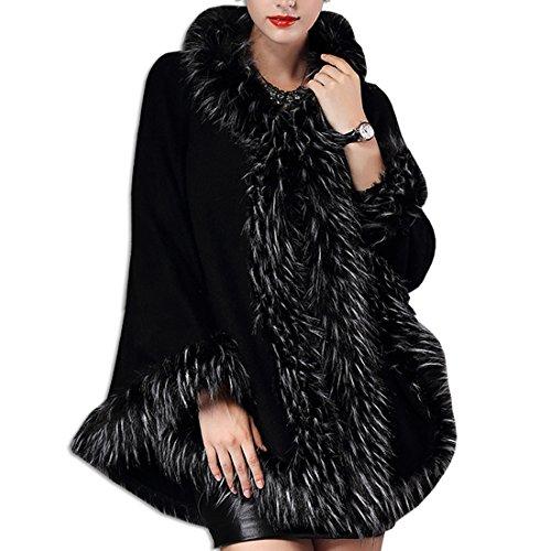 Chaquetas de Ponchos Moda Abrigos Mujer Imitación Negro Capas Abrigos Piel KAXIDY Invierno Capas 4AUqfOz