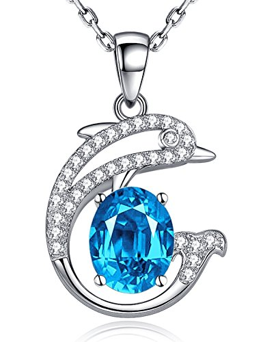 11th 24th Anniversary Gifts for Her Swiss Blue Topaz Necklace December Birthstone Pendant Necklace Sterling Silver Jewelry Birthday Gifts Jewelry Gifts for Wife Girlfriend Girls Valentine's Day Gifts