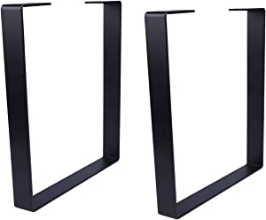 Osring 16 Inch Coffee Table Legs U-Shaped, 2pcs Solid Steel Table Legs for Furniture, TV Stand and Bench, Black