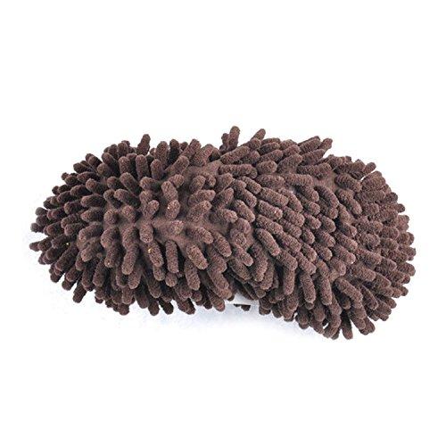 Gosear Fregona de Polvo Zapatillas Limpiar Zapatos / Limpiador de Piso Pulido de Cubierta para Baño Oficina Cocina,Verde Marrón
