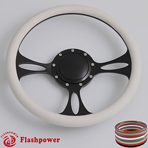 Flashpower 14'' Billet Half Wrap 9 Bolts Steering Wheel with 2'' Dish and Horn Button(White)