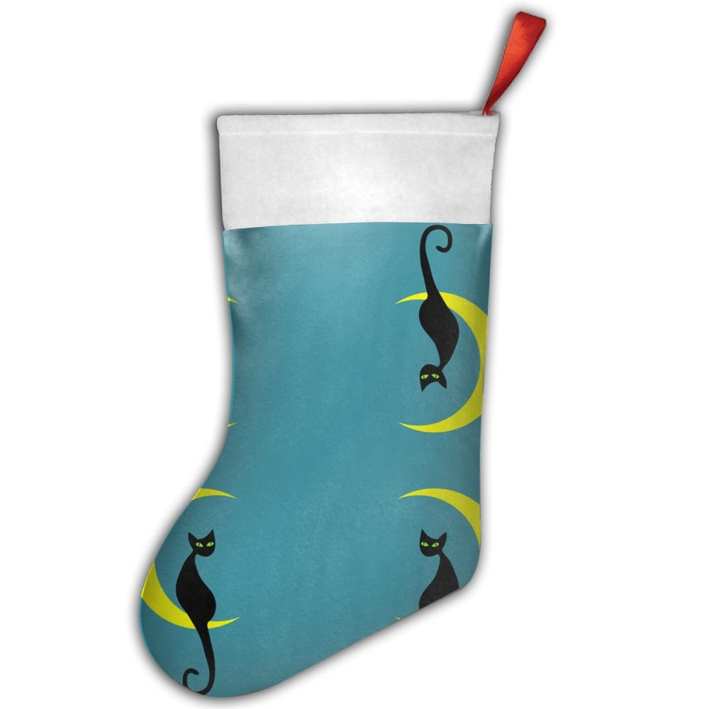 Cute Black Cat Moon Christmas Stocking, Craft Holiday Hanging Socks Ornaments Decorations Santa Stockings. SK